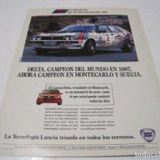 Coches y Motocicletas: LANCIA DELTA INTEGRALE: ANUNCIO PUBLICIDAD 1988. Lote 236275045