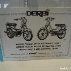 Coches y Motocicletas: CATALOGO PIEZAS DE RECAMBIO DERBI MODELO VARIANT MOTOR AUTOMATICO START MODELS NEW. Lote 236690970