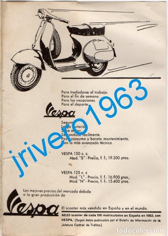 1963, PUBLICIDAD VESPA 125 Y 150, CON PRECIOS, 115X165MM (Coches y Motocicletas Antiguas y Clásicas - Catálogos, Publicidad y Libros de mecánica)