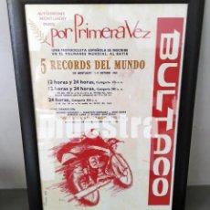 Coches y Motocicletas: CUADRO CON CARTEL RECORDS DEL MUNDO BULTACO 1960 # DECORACIÓN Y PUBLICIDAD VINTAGE: 50X35 CM. Lote 239450015