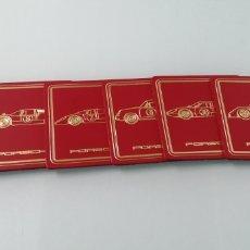Coches y Motocicletas: ESPECTACULAR JUEGO DE 6 POSAVASOS PORSCHE. PIEL O SIMIL. DISTINTOS MODELOS. 1980.. Lote 240767270