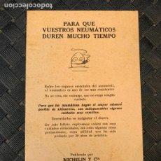 Coches y Motocicletas: MICHELIN MANUAL DE USO NEUMATICOS BAJA PRESION AÑOS 20. Lote 241300450