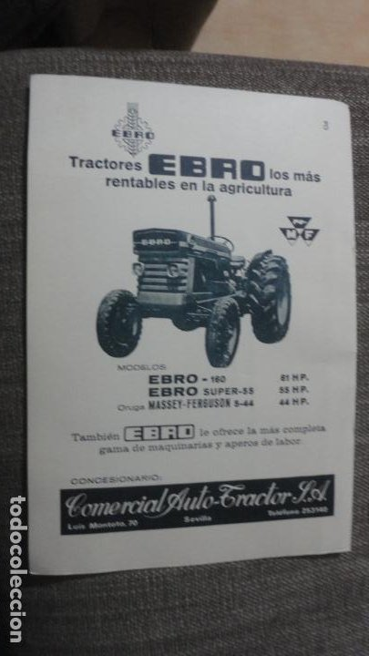 ANTIGUA PUBLICIDAD.TRACTOTES EBRO. COMERCIAL AUTO TRACTOR S.A LUIS MONTOTO.SEVILLA 1969. (Coches y Motocicletas Antiguas y Clásicas - Catálogos, Publicidad y Libros de mecánica)