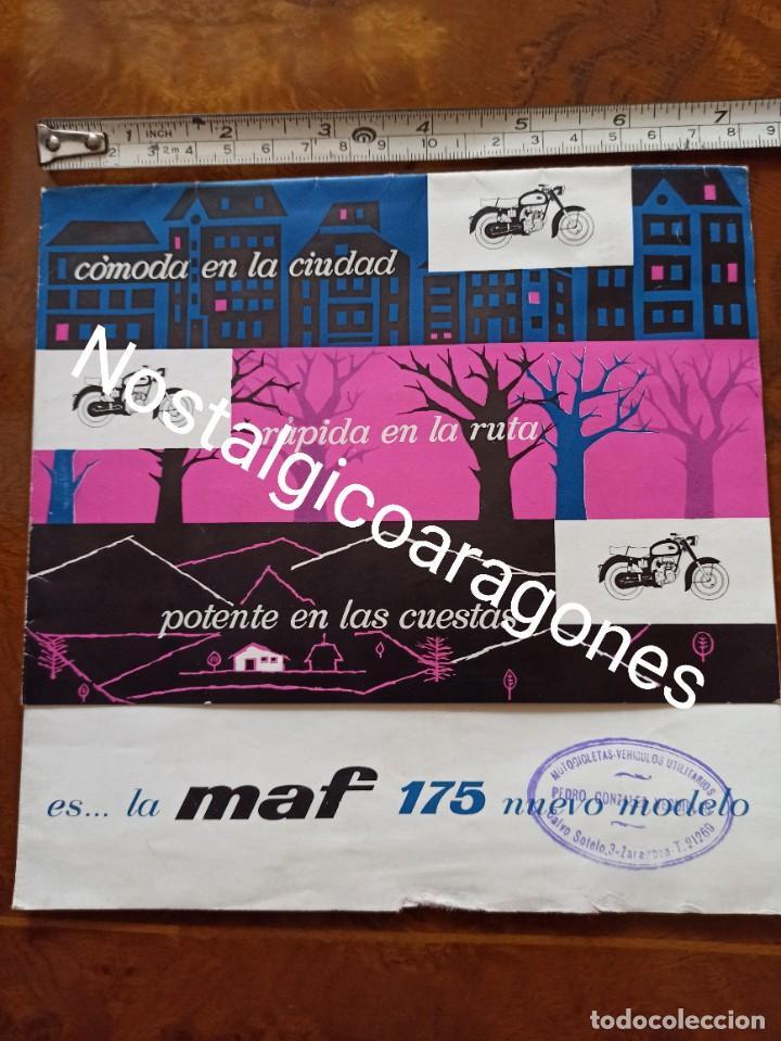 CATÁLOGO MOTO CATALANA MAF 175 FABRICADA EN FIGUERES DESPLEGABLE CONCESIONARIO PEDRO GLEZ D ZARAGOZA (Coches y Motocicletas Antiguas y Clásicas - Catálogos, Publicidad y Libros de mecánica)