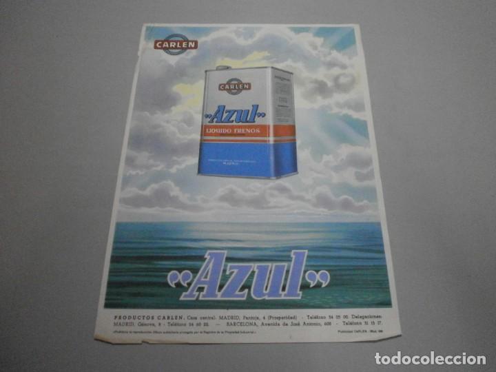 FOLLETO CARTEL PUBLICIDAD CARLEN AZUL LIQUIDO DE FRENOS AÑOS 50 ORIGINAL (Coches y Motocicletas Antiguas y Clásicas - Catálogos, Publicidad y Libros de mecánica)