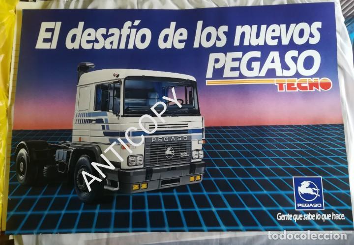 IMPRESIONANTE PÓSTER CARTEL CAMIÓN PEGASO TECNO AÑO 1985 (Coches y Motocicletas Antiguas y Clásicas - Catálogos, Publicidad y Libros de mecánica)