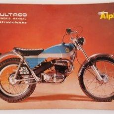 Carros e motociclos: BULTACO ALPINA / MANUAL DE INSTRUCCIONES 1973 VERSION INGLES / ENGLISH VERSION. Lote 245592950