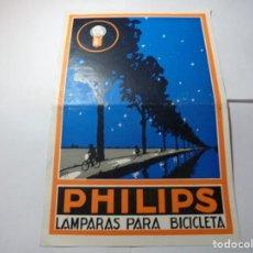 Coches y Motocicletas: MAGNIFICO ANTIGUO FOLLETO PUBLICITARIO PHILIPS LAMPARAS PARA BICICLETADE. Lote 246133505