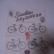Coches y Motocicletas: MAGNIFICA ANTIGUA PUBLICIDAD BICICLETAS B.H. Y SUPER B.H.MODELOS DE ALTA CALIDAD. Lote 246337640