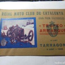 Coches y Motocicletas: MAGNIFICO ANTIGUO PROGRAMA CATALOGO TROFEO ARMENGUE III AÑO TARRAGONA 1923. Lote 247221135