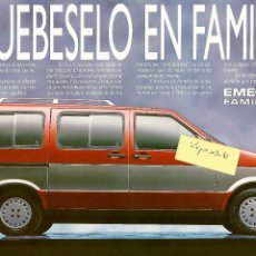 Voitures et Motocyclettes: EMELBA SIETE FAMILY-CAR ULTIMA VERSIÓN FOLLETO 2 PÁGINAS SEAT 1.5, 1.7 D 1990. Lote 248033850