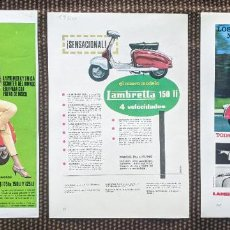 Coches y Motocicletas: 3 ANUNCIOS DE MOTO LAMBRETTA .AÑOS 1960, 63 Y 64. UNO CON JAYNE MANSFIELD.. . VELL I BELL. Lote 250140130