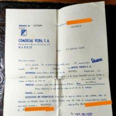 Coches y Motocicletas: ANTIGUA FACTURA PEDIDO DE MOTO VESPA. COMERCIAL VESPA S.A. MADRID. AÑO 1956.. Lote 251735500
