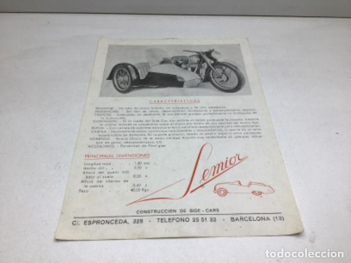 DIPTICO SIDE CARS SEMIOR - AÑOS 50 BARCELONA - CATALOGO PUBLICITARIO (Coches y Motocicletas Antiguas y Clásicas - Catálogos, Publicidad y Libros de mecánica)