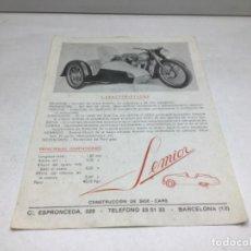 Coches y Motocicletas: DIPTICO SIDE CARS SEMIOR - AÑOS 50 BARCELONA - CATALOGO PUBLICITARIO. Lote 253297595