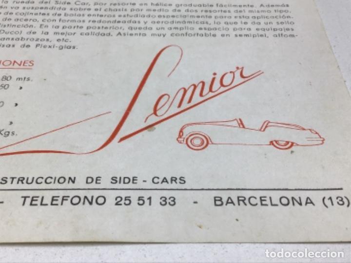 Coches y Motocicletas: DIPTICO SIDE CARS SEMIOR - AÑOS 50 BARCELONA - CATALOGO PUBLICITARIO - Foto 3 - 253297595