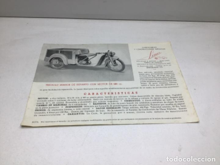 DIPTICO TRICICLO DE REPARTO SEMIOR - AÑOS 50 BARCELONA - CATALOGO PUBLICITARIO (Coches y Motocicletas Antiguas y Clásicas - Catálogos, Publicidad y Libros de mecánica)