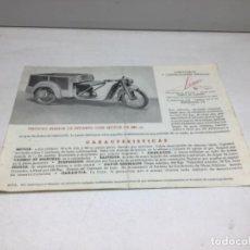 Coches y Motocicletas: DIPTICO TRICICLO DE REPARTO SEMIOR - AÑOS 50 BARCELONA - CATALOGO PUBLICITARIO. Lote 253323780