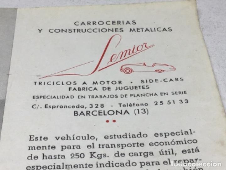 Coches y Motocicletas: DIPTICO TRICICLO DE REPARTO SEMIOR - AÑOS 50 BARCELONA - CATALOGO PUBLICITARIO - Foto 3 - 253323780