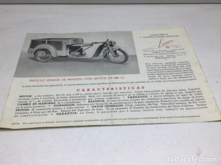 Coches y Motocicletas: DIPTICO TRICICLO DE REPARTO SEMIOR - AÑOS 50 BARCELONA - CATALOGO PUBLICITARIO - Foto 4 - 253323780