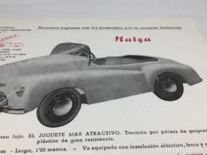 Coches y Motocicletas: DIPTICO COCHE DE PEDALES HAIGA JUGUETE SEMIOR - AÑOS 50 BARCELONA - CATALOGO PUBLICITARIO - Foto 2 - 253325460