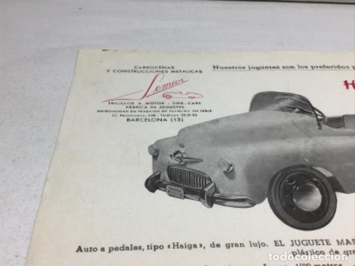 Coches y Motocicletas: DIPTICO COCHE DE PEDALES HAIGA JUGUETE SEMIOR - AÑOS 50 BARCELONA - CATALOGO PUBLICITARIO - Foto 3 - 253325460