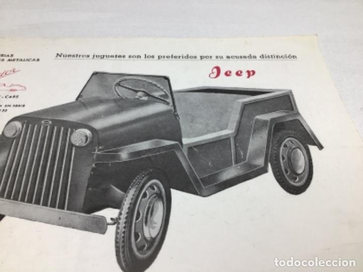 Coches y Motocicletas: DIPTICO COCHE DE PEDALES JEEP JUGUETE SEMIOR - AÑOS 50 BARCELONA - CATALOGO PUBLICITARIO - Foto 2 - 253325700
