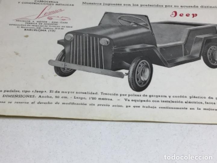 Coches y Motocicletas: DIPTICO COCHE DE PEDALES JEEP JUGUETE SEMIOR - AÑOS 50 BARCELONA - CATALOGO PUBLICITARIO - Foto 4 - 253325700