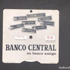 Coches y Motocicletas: ANTIGUO DISCO CONTROL DE ESTACIONAMIENTO. PUBLICIDAD BANCO CENTRAL. Lote 255460410