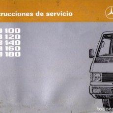 Coches y Motocicletas: MANUAL USUARIO MERCEDES-BENZ MB100/MB120/MB140/MB160/MB180. Lote 259933305