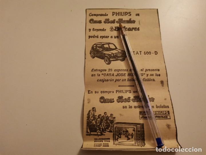 CASA JOSÉ BUADES SORTEO SEAT 600 D PALMA DE MALLORCA RECORTE PERIÓDICO 1965 (Coches y Motocicletas Antiguas y Clásicas - Catálogos, Publicidad y Libros de mecánica)