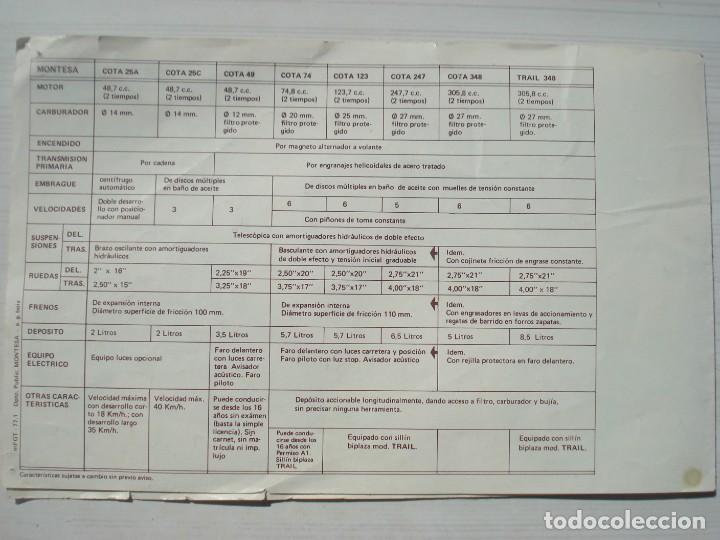 Coches y Motocicletas: Catálogo Publicidad Folleto Publicitario Oficial Moto Motocicletas Montesa Trial Trail Cota 1977 - Foto 4 - 262644725