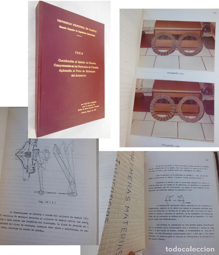 CONTRIBUCIÓN AL ESTUDIO DE NUEVOS COMPONENTES EN LOS MATERIALES DE FRICCIÓN. 1984 (Coches y Motocicletas Antiguas y Clásicas - Catálogos, Publicidad y Libros de mecánica)
