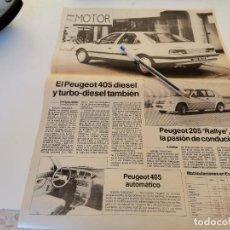 Coches y Motocicletas: COCHE PEUGEOT 405 DIÉSEL Y TURBO PEUGEOT 205 RALLYE RECORTE PERIÓDICO 1988. Lote 263549990