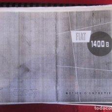 Coches y Motocicletas: FIAT 1400 B NOTICE D'ENTRETIEN. NO ORIGINAL. Lote 263593730