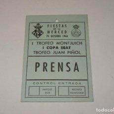 Carros e motociclos: CARNET DE PRENSA - I TROFEO MONTJUICH I COPA SEAT, TROFEO JUAN PIÑOL, FIESTAS MERCED 1966. Lote 266859194