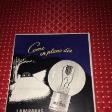 Coches y Motocicletas: LAMPARAS METAL-AUTO - CATÁLOGO MARZO 1953 - 20 PÁGINAS. Lote 267748549