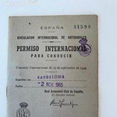 Coches y Motocicletas: PERMISO INTERNACIONAL PARA CONDUCIR AUTOMOVILES DE 1965. Lote 268416044