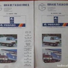 Coches y Motocicletas: GUÍA DE TASACIONES PEGASO / 11 Y 30 DE ENERO 1985 RESPECTIVAMENTE 327 PÁGINAS CADA UNO . 14'5 X 23. Lote 269028604