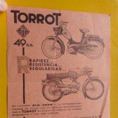 Coches y Motocicletas: ANTIGUA PUBLICIDAD.MOTO TORROT.49CC. MARIA PILAR CHAVARRIA.TORTOSA 1966. Lote 269733853