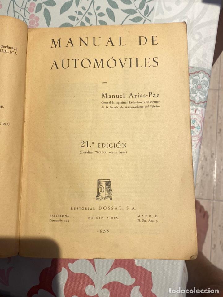Coches y Motocicletas: Manual de automóviles 21 edición 1955 (Manuel Arias-Paz) Editorial Dossat - Foto 8 - 270407248