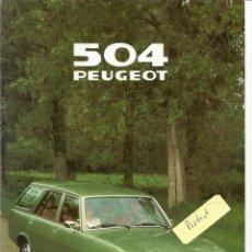 Coches y Motocicletas: PEUGEOT 504 BREAK FAMILIAR, CATÁLOGO 12 PÁGINAS EN ESPAÑOL, 1979, EN BUEN ESTADO. Lote 270567673