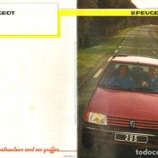 Coches y Motocicletas: PEUGEOT 205 CATÁLOGO 24 PÁGINAS EN FRANCÉS, 1985, EN BUEN ESTADO. MODELOS GT, GL, GLD, GR, GRD, SR,. Lote 270568823