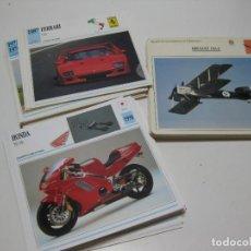 Coches y Motocicletas: LOTE DE 160 FICHAS ACARTONADAS. COCHES. AVIONES Y MOTOS. Lote 271897008