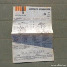 Coches y Motocicletas: MANUAL USO MANTENIMIENTO RECAMBIOS MOTORES LOMBARDINI LDA 96 100 820. Lote 273737003