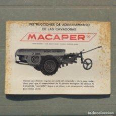 Coches y Motocicletas: MANUAL INSTRUCCIONES DE ADIESTRAMIENTO CAVADORAS MACAPER. Lote 273738158