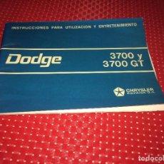 Carros e motociclos: DODGE 3700 Y 3700 GT - CHRYSLER ESPAÑ - LIBRO UTILIZACIÓN Y ENTRETENIMIENTO - AÑOS 60. Lote 276154573