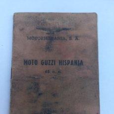 Carros e motociclos: MANUAL MOTOCICLETA MOTORHISPANIA S.A. MOTO GUZZI HISPANIA 65 C. C.. Lote 276392358