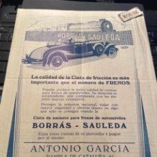 Carros e motociclos: AUTOMOVILES - ANTIGUO CATALOGO 1 HOJA FRENOS - BORRÁS - SAULEDA - ANTONIO GARCIA RAMBLA DE CATALUÑA. Lote 276998293