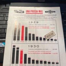 Coches y Motocicletas: AUTOMOVILES - ANTIGUO CATALOGO 1 HOJA - INTERNATIONAL UNA PRUEBA MAS 1929-1930-1931-1932 - 28X22 CM.. Lote 277023333